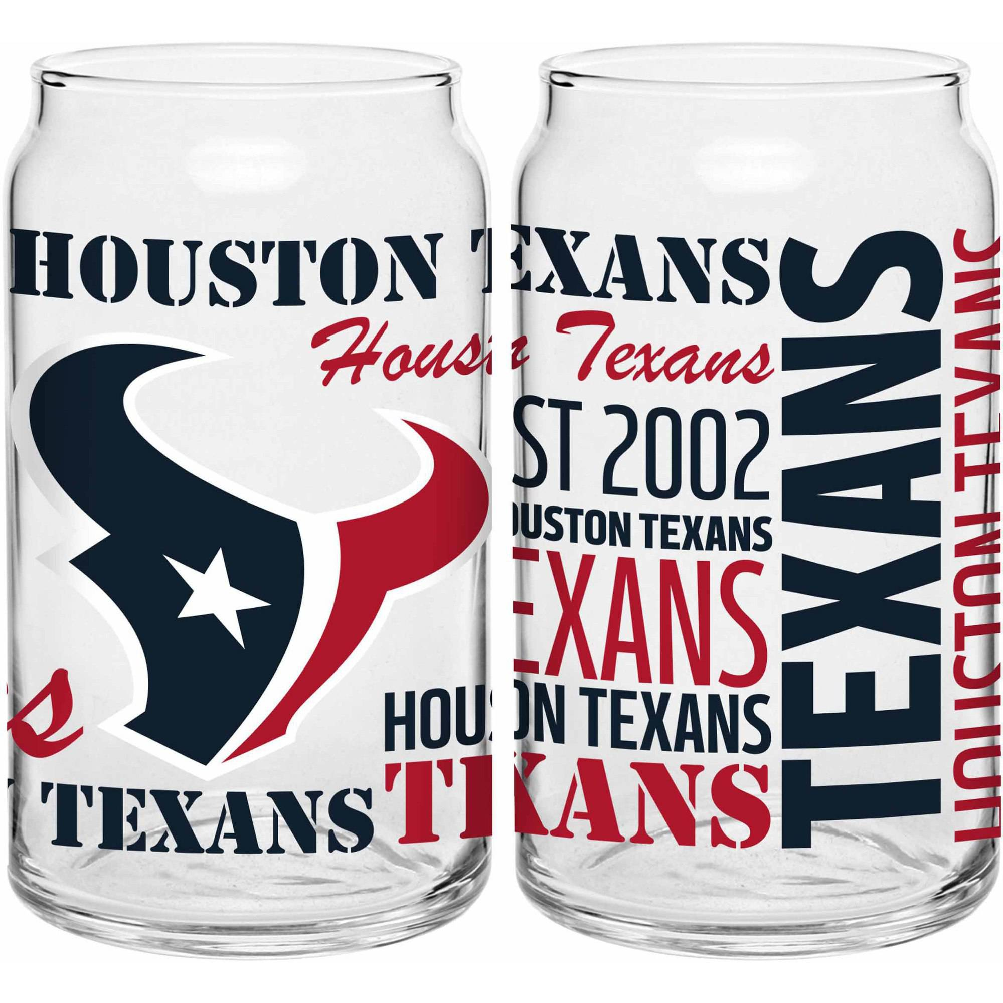 Boelter Brands NFL Set of Two 16 Ounce Spirit Glass Can Set, Houston Texans 355412