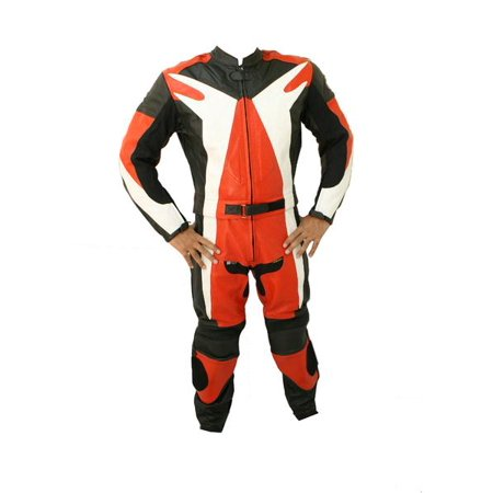 Perrini 2 PC Red Genuine Cow Hide Motorcycle Leather Suit Motorbike Riding Hard Padding Racing
