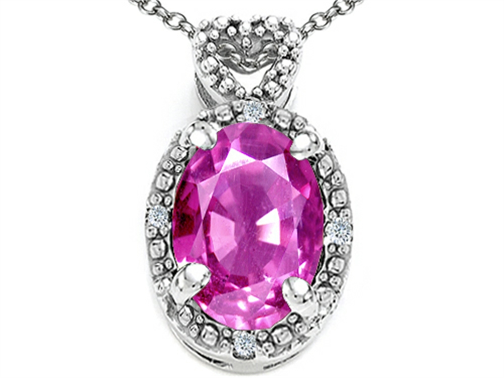 Tommaso Design Oval 8x6mm Genuine Pink Tourmaline Pendant Necklace by