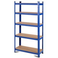 "GHP 35.5""x16""x71"" Blue Iron & Wood Space-Saving Adjustable Storage Rack w 5 Shelves"