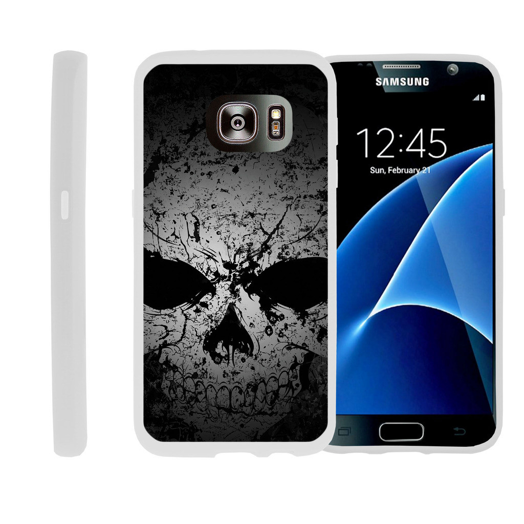Flexible Case for Samsung Galaxy S7 Edge | SM-G935 Case [ Flex Force ] Lightweight Flexible Phone Case - Faded Skull