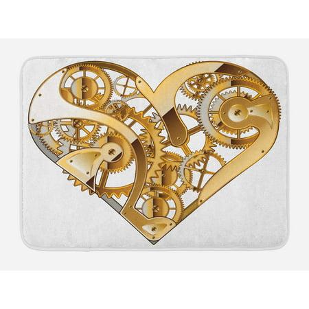 Industrial Bath Mat, Mechanic Heart Physical Bodies Complex Structure of Love Techno Romance Print, Non-Slip Plush Mat Bathroom Kitchen Laundry Room Decor, 29.5 X 17.5 Inches, Golden White, Ambesonne