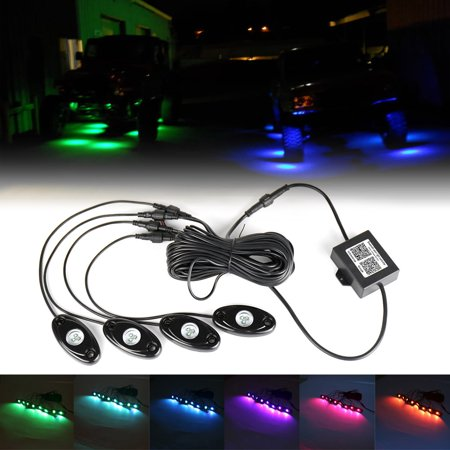 GZYF 4 Pods RGB LED Rock Light Kits Multi Color Lights for Car Truck ATV UTV Offroad Boat Bluetooth Remote Wireless (Utv Controls)