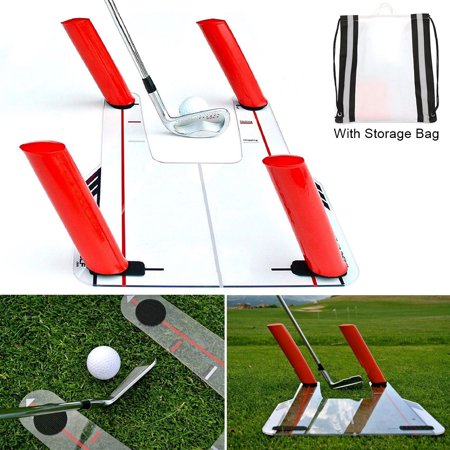 Golf Swing Speed Trainer Trap Base Training+4 Speed Rods+Protable Storage Bag Putting Plane Path Practice Aid Outdoor Exercise Fitness Equipment (18.1 x 12 x 0.12 Inches) ()