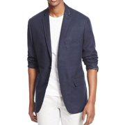 INC NEW Navy Blue Mens Size Medium M Pleather Collar Trim Two Button Blazer