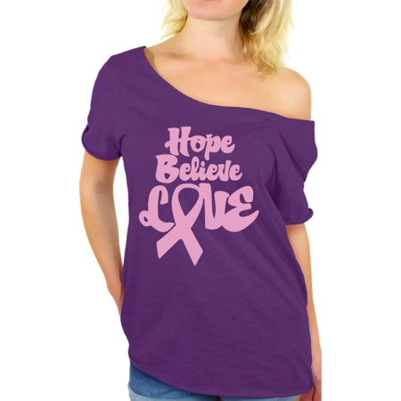 Awkward Styles Hope Believe Love Shirt Pink Ribbon T Shirt for Ladies Hope Believe Love Off Shoulder Shirt Women's Pink Ribbon Baggy Tshirt Breast Cancer Awareness Shirt Cancer Support Shirts for