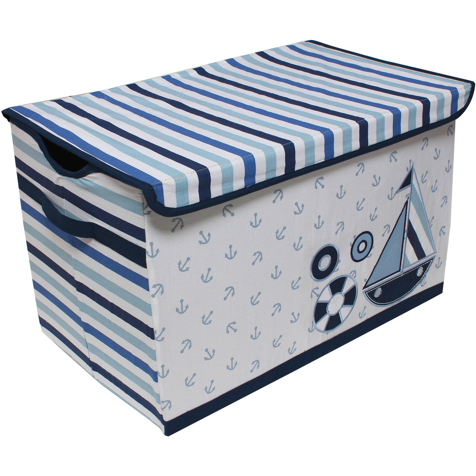 Bacati - Little Sailor Cotton Percale Fabric covered Storage, Toy Chest, 24.5 L x 15 W x 14 H inches