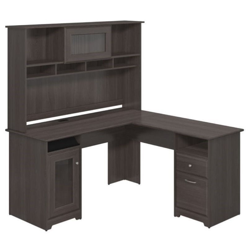 "Bowery Hill 60"" L-Shaped Desk with Hutch in Heather Gray"