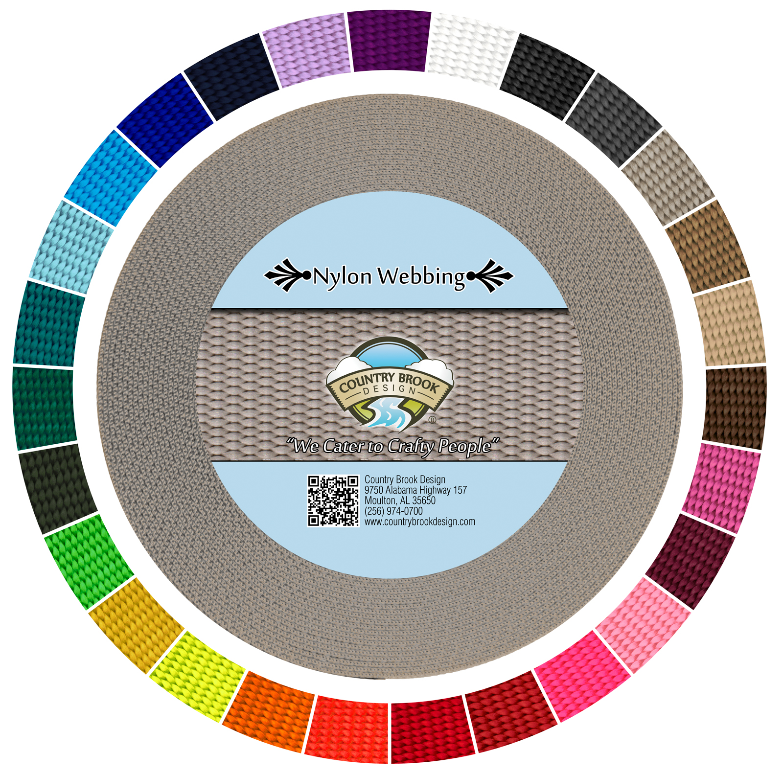Country Brook Design® 3/4 Inch Silver Heavy Nylon Webbing