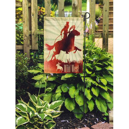 NUDECOR Red Rodeo Cowboy on Horse Ride Watercolor Pic Vintage Western Bull Garden Flag Decorative Flag House Banner 12x18 inch - image 2 of 2