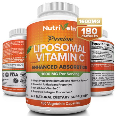 Nutrivein Liposomal Vitamin C 1600mg - 180 Capsules - High Absorption Ascorbic Acid - Supports Immune System and Collagen Booster - Powerful Antioxidant High Dose Fat Soluble Supplement- Vegan Pills Immune Support Wellness Oil