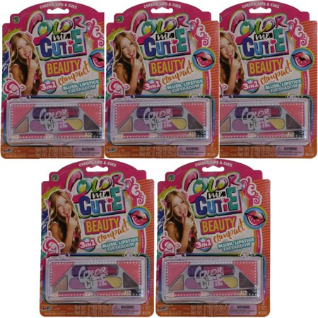 JA-RU Inc. Toys - Color Me Cutie - LOT OF 5 BEAUTY COMPACT MAKEUP SETS (Blush, Lipstick & More) #95