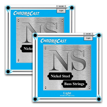 - ChromaCast Nickel Steel Bass Guitar Strings, Light Gauge(40-100), 2 Pack