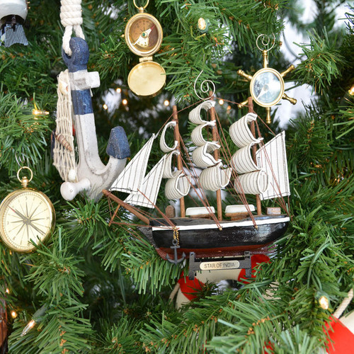 Handcrafted Nautical Decor Wooden Star of India Model Ship Christmas Tree Ornament