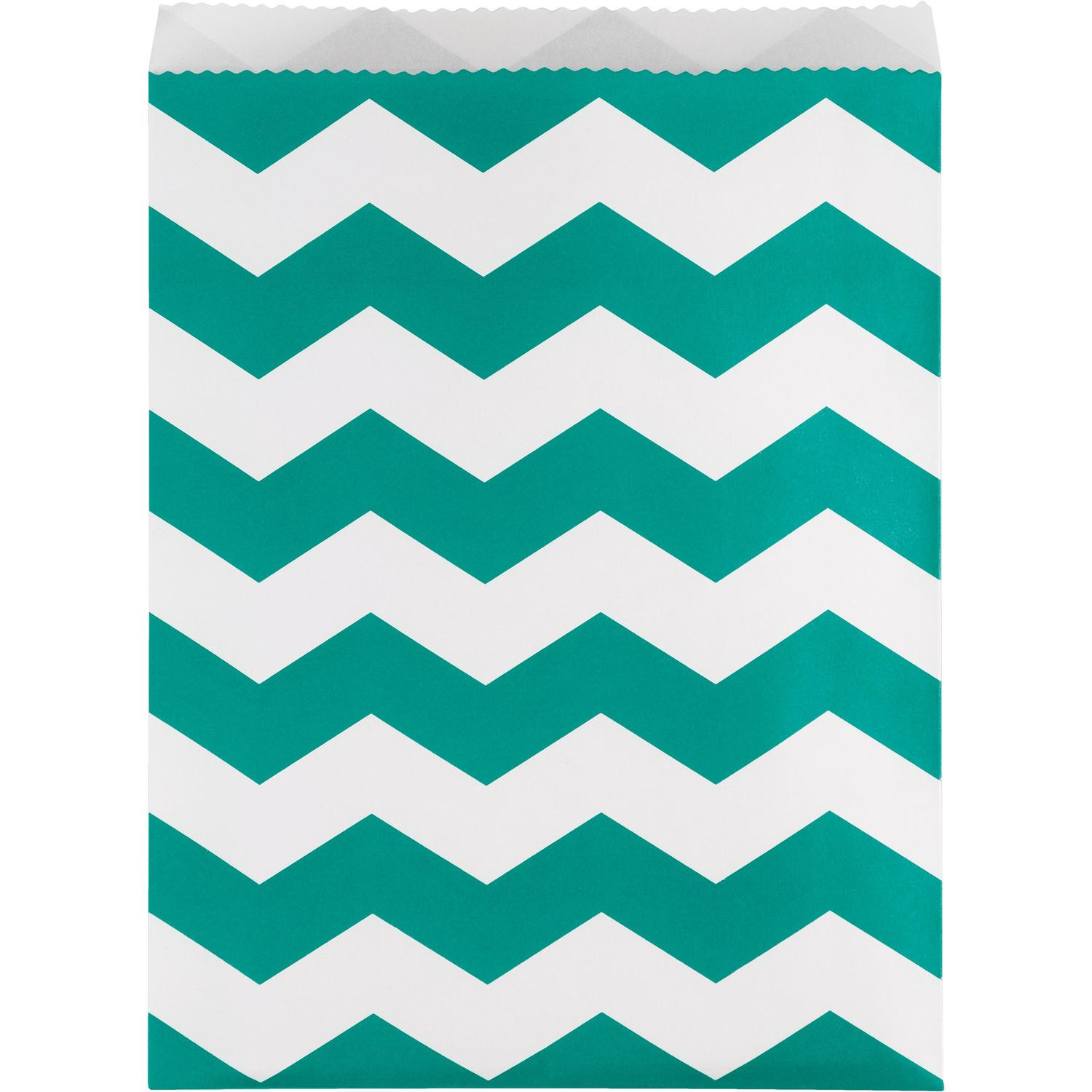 """Club Pack of 120 Teal Lagoon and White Chevron Striped Decorative Party Treat Bags 8.75"""""""