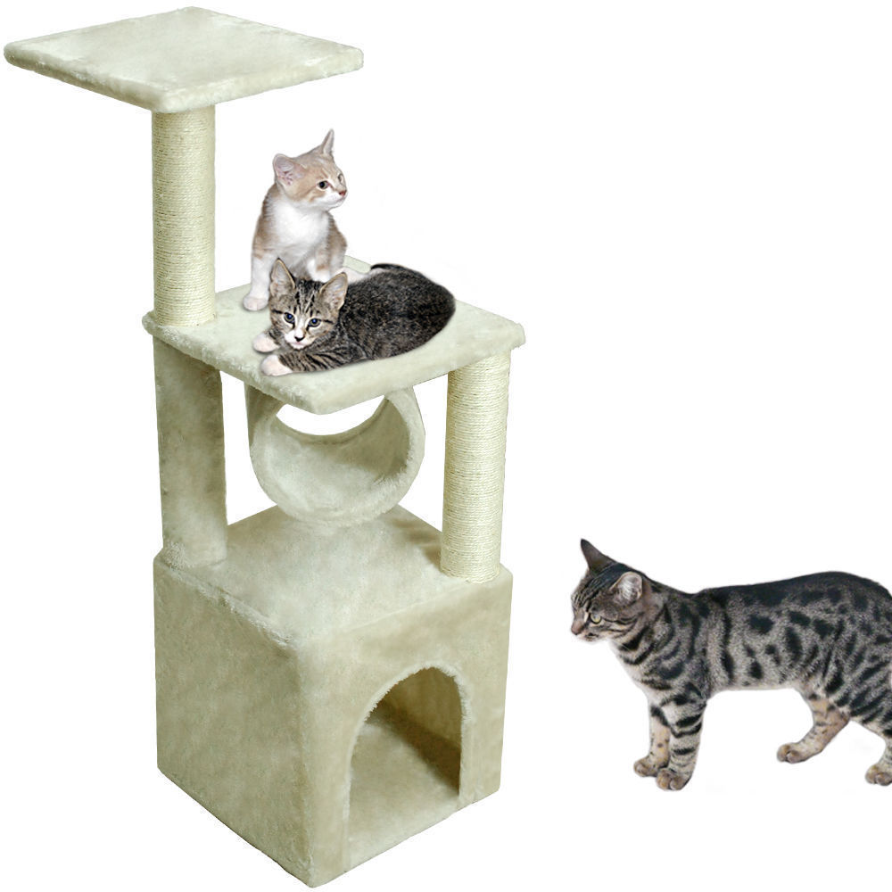 beige cat tree condo furniture scratching post kitten pet play toy house - Cat Scratching Post