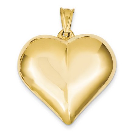 Hollow 14k Gold Sailboat Charm - 14k Yellow Gold Hollow Polished Puffed Heart Pendant - 4.0 Grams - Measures 35.6x42.5mm
