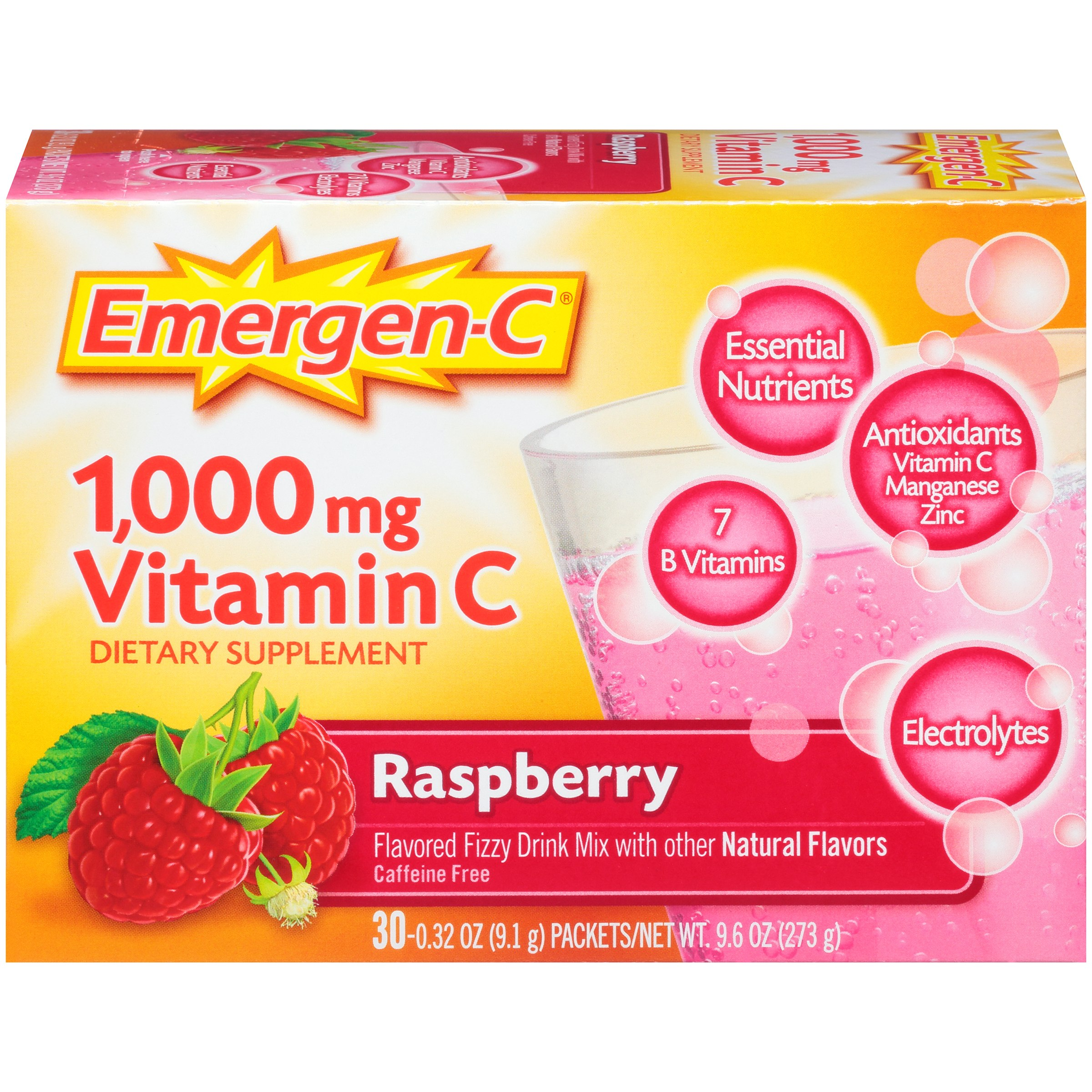 Emergen-c drink mix, raspberry 1000mg packets, 30ct