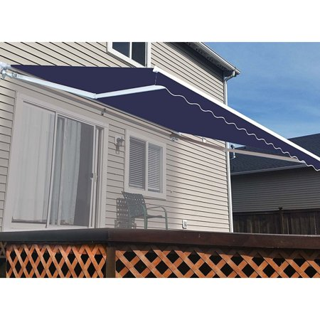 ALEKO Motorized Retractable Patio Awning 20 X 10 Ft Blue ...