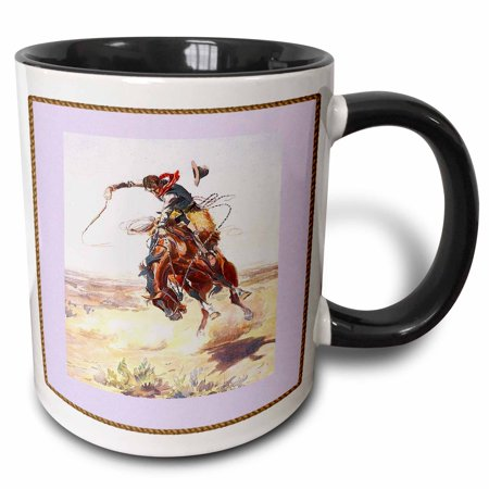 3dRose Vintage Cowboy On Bucking Bronco - Two Tone Black Mug, 11-ounce - Cowboy Boot Glass Mug
