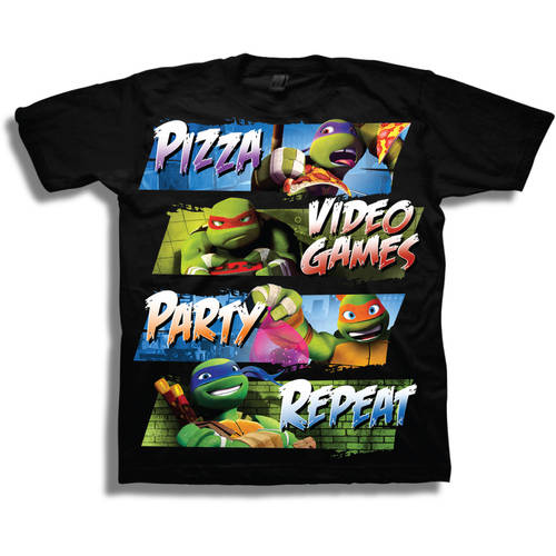 "TMNT ""Pizza, Video Games, Party, Repeat"" Boys' Short Sleeve Graphic Tee T-Shirt"