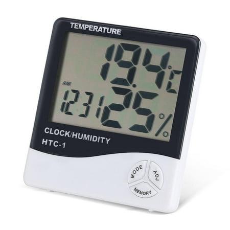 FAGINEY Indoor Thermometer Hygrometer,Digital LCD Indoor Thermometer Hygrometer Temperature Humidity Meter with Alarm Clock - image 6 of 8