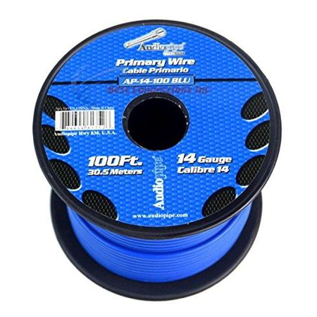 one roll 14 ga gauge 100 feet blue audiopipe car audio home primary remote wire