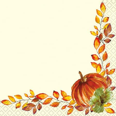 Watercolor Pumpkins Fall Paper Beverage Napkins, 5 in, 16ct