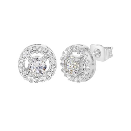 Rhodium Plated Round Open Micro Pave Clear Crystal Bezel Small Earrings 8mm