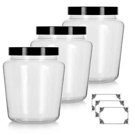 Large Jars (Clear 32 oz Tapered PET Plastic (BPA Free) Large Refillable Jar with Black Foam Lined Lids - (3 pack) +)