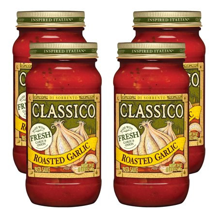 (4 Pack) Classico Roasted Garlic Pasta Sauce, 24 oz Jar
