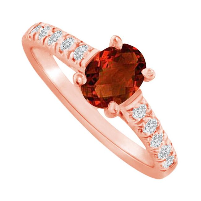 Fine Jewelry Vault UBNR82901P148X6CZGR Oval Garnet & CZ Accent Ring in 14K Rose Gold, 10 Stones
