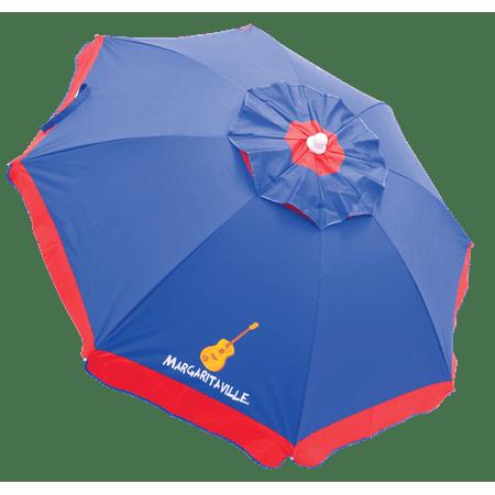 Margaritaville 6 ft. Umbrella with Integrated Sand Anchor - Blue/Green Stripe ()