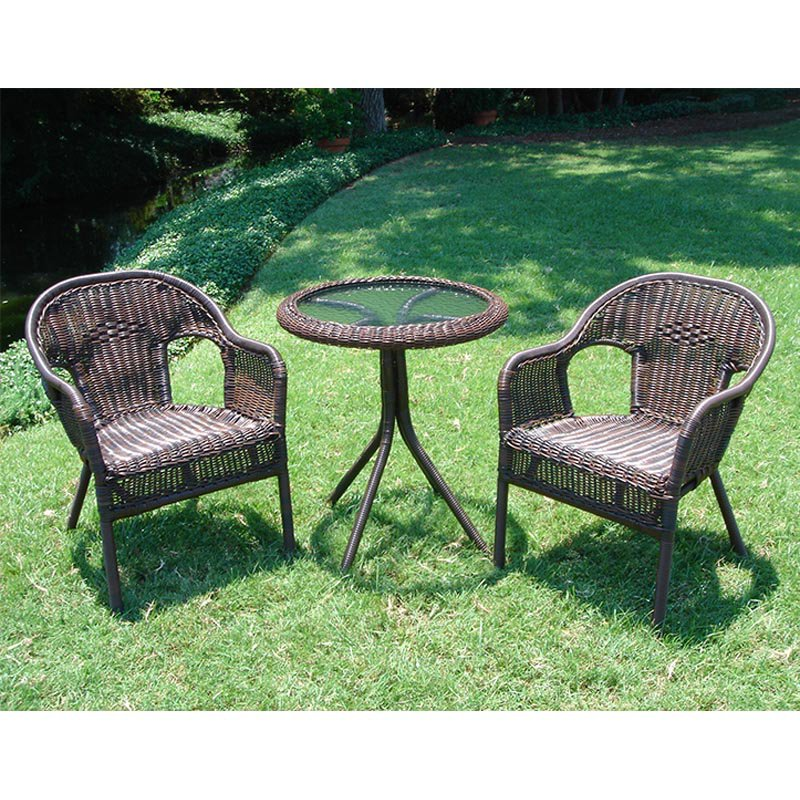 International Caravan Somerset Wicker Resin Patio Bistro Set by Intl. Caravan/Golden Needle