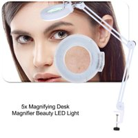 WALFRONT LED Make Up Lamp,LED Magnifying Lamp Beauty Cosmetic Tattoo 5x Magnifying 110V LED Lighted Desk Magnifier Light Lamp With Clamp