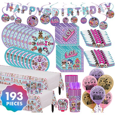 LOL Surprise Party Kit  For 16 193 pc w/ Tableware Cups Tiaras and Balloons