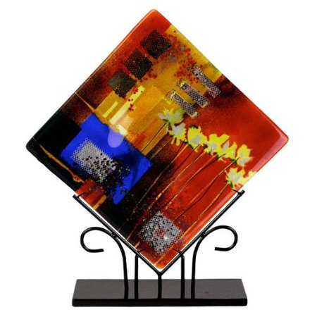 Fused Glass Platters - Jasmine Art Glass Square Platter