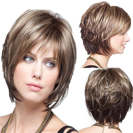 White Women Synthetic Full Wigs Short Straight Bob Hairstyle Blonde Hair Wig Walmart Canada