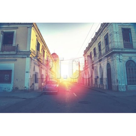 Car Drive in Havana Street, Faded and Filtered Vintage Photo Effect Print Wall Art By Marcin
