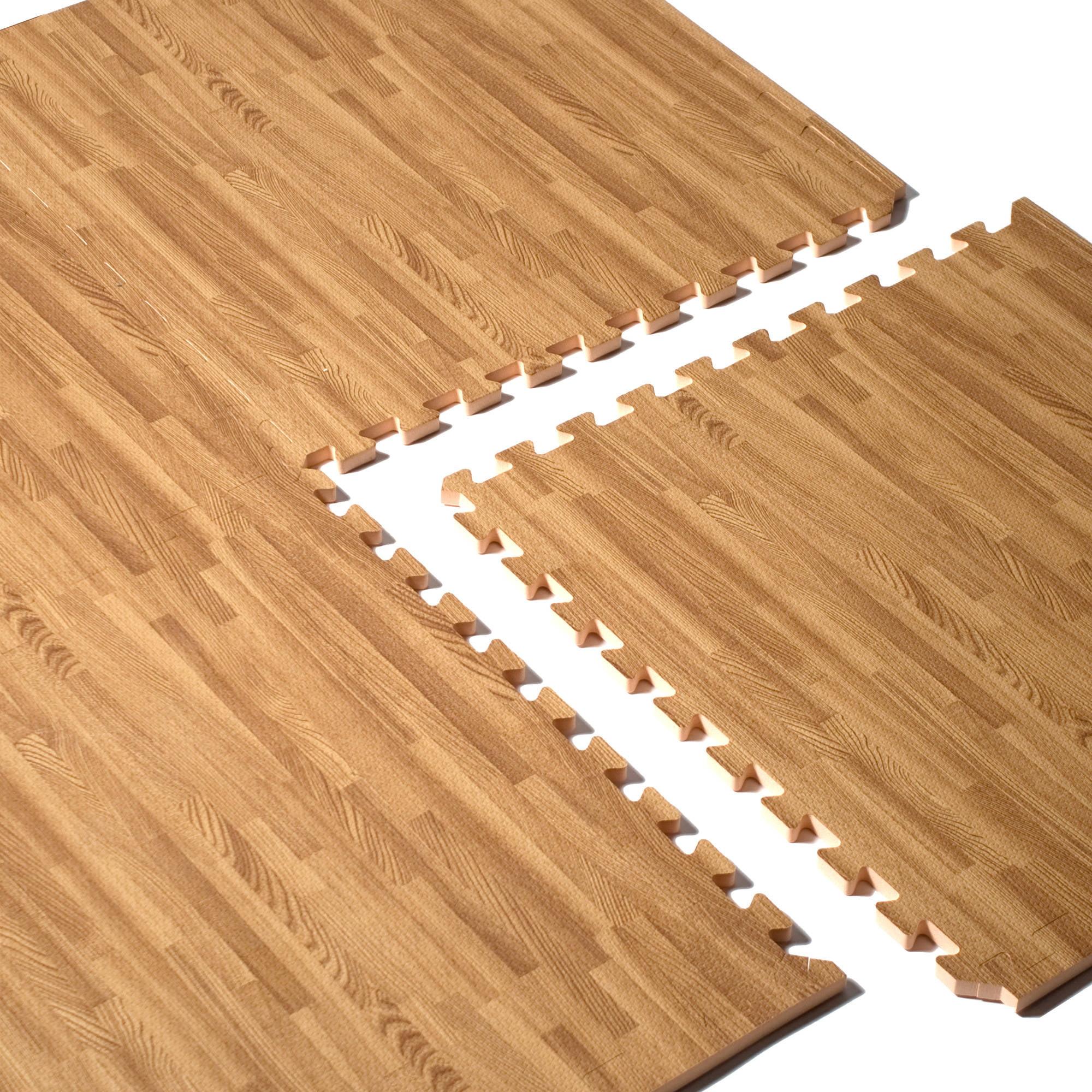 Cap Barbell 24x24 Wood Grain Puzzle Mat Walmart Com