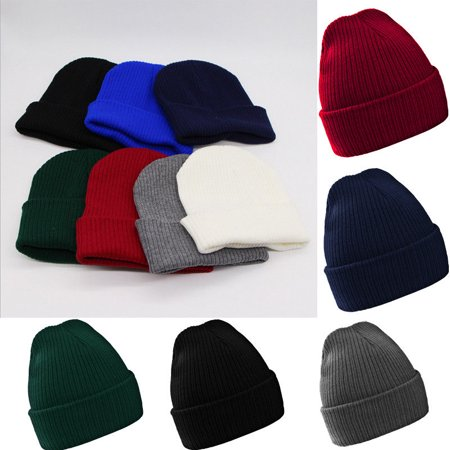 ff90c9fdd93 Plain Beanie Ski Cap Skull Hat Warm Solid Color Winter Cuff New Beany Men  Lady - Walmart.com