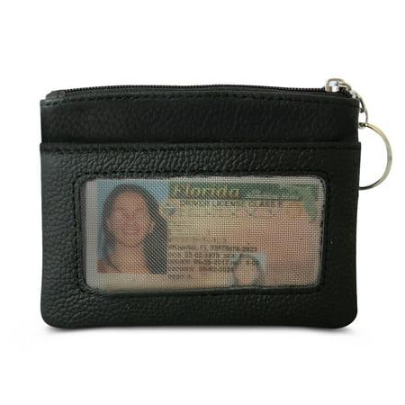 AFONiE Mini Skinny Soft leather ID Case (Leather Open Sided Mini Skinny Card Case)