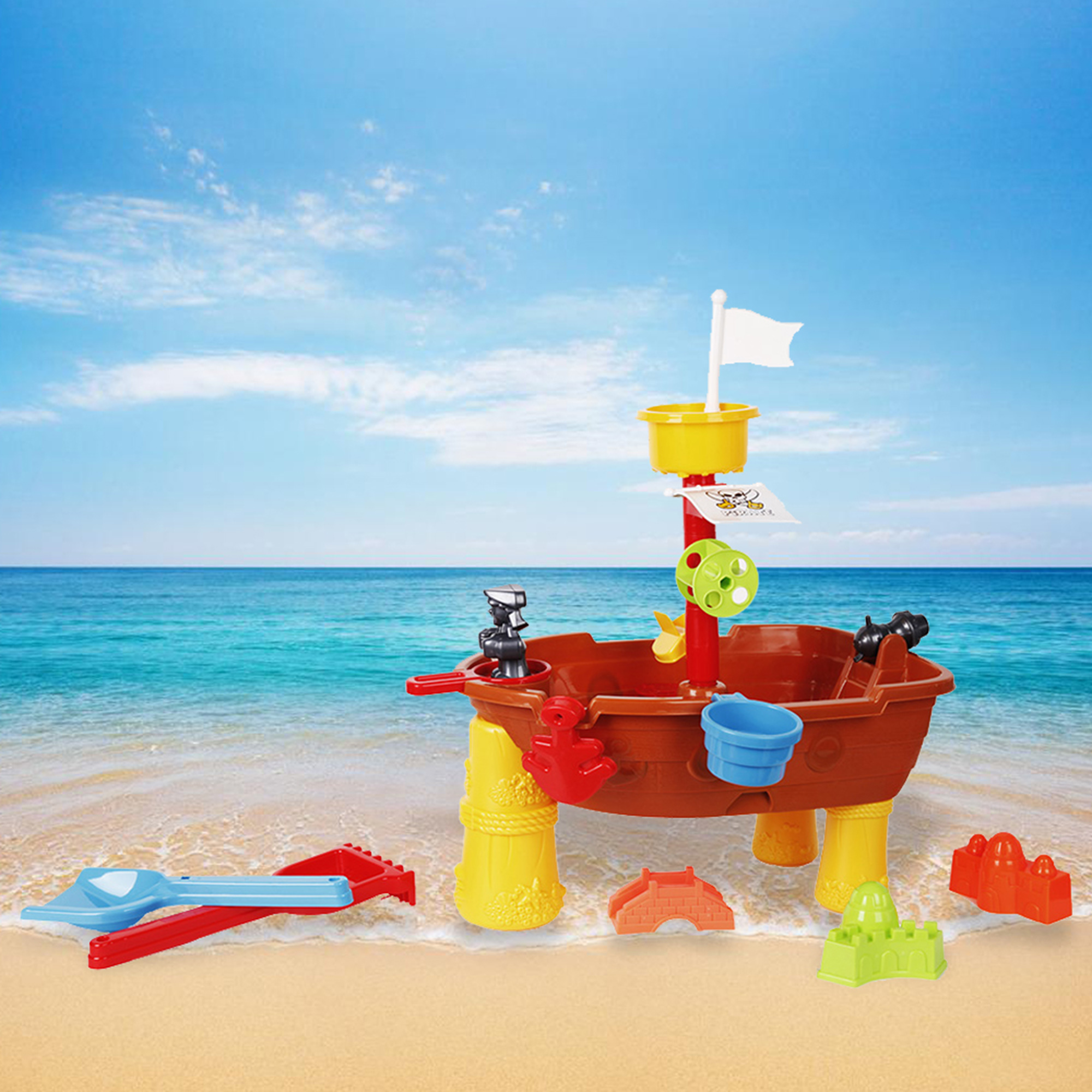 KARMAS PRODUCT Sand Beach Play Toys Summer Watering Sand Play Bath Toys Pirate Ship for Children by KARMAS PRODUCT