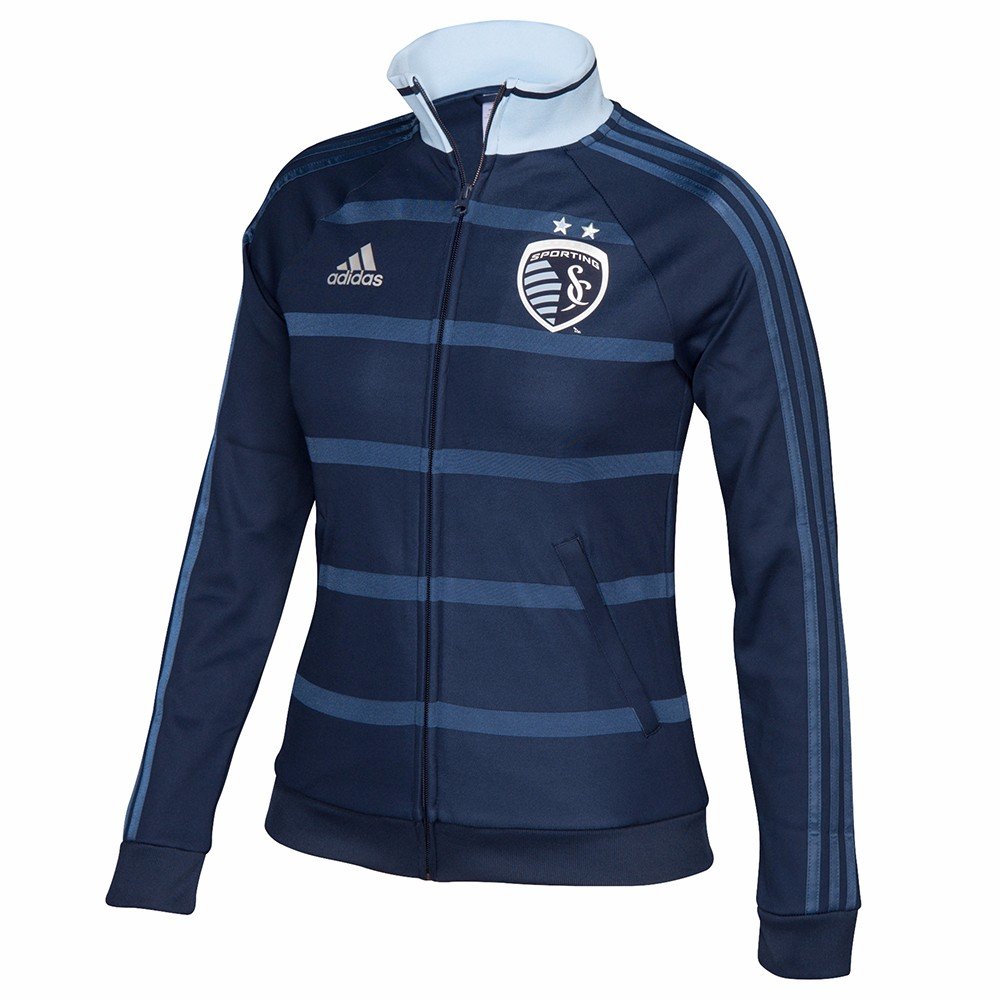 Sporting Kansas City MLS Adidas Navy Blue Anthem Full Zip Track Jacket For Women by Adidas