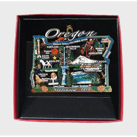 Oregon Ornament City State Landmarks Brass Christmas Travel Souvenir Gift ()