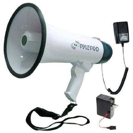 PYLE PMP45R - Bullhorn Megaphone Speaker with Built-in Rechargeable Battery, 10 Second Memory Record, Detachable Handheld Microphone, Siren Alarm Mode](Mini Cheer Megaphones)