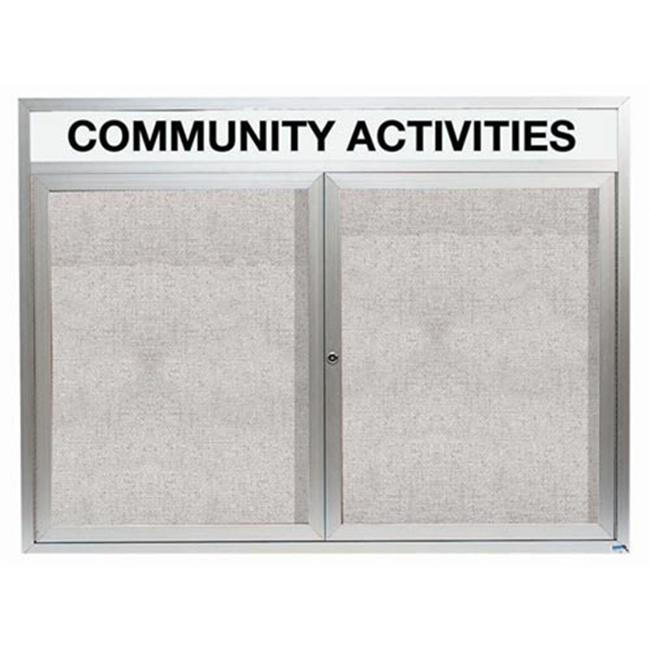 Aarco Products ODCC4860RHI 2-Door Illuminated Outdoor Enclosed Bulletin Board with Header - Clear Satin Anodized