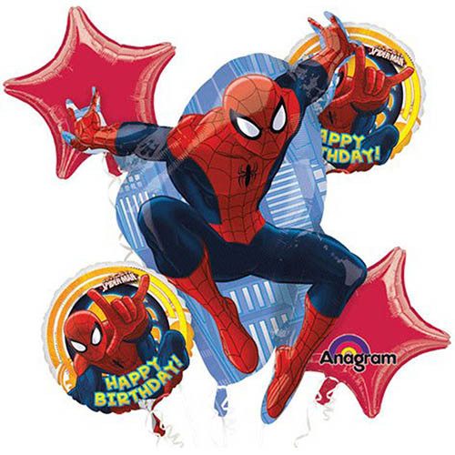 Spiderman Ultimate Character Authentic Licensed Theme Foil Balloon Bouquet