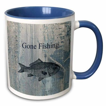 3dRose Gone Fishing White wash wood look beach theme art - Two Tone Blue Mug, - Fishing Themed Wedding