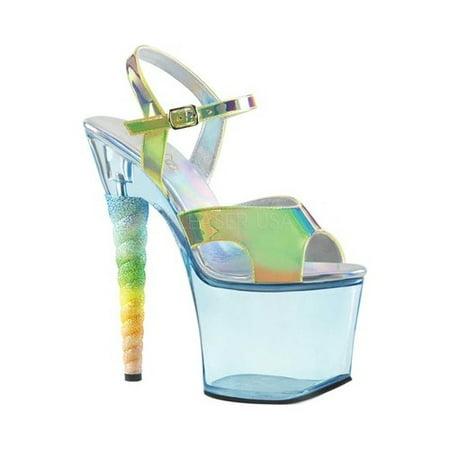 UNICORN-711T, 7'' Heel 2 3/4'' Platform Ankle Strap Sandal - 7 Inch High Heel Sandals